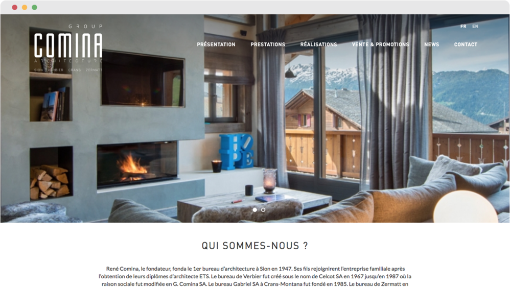 Website comina architecture sion iomedia web agency lausanne